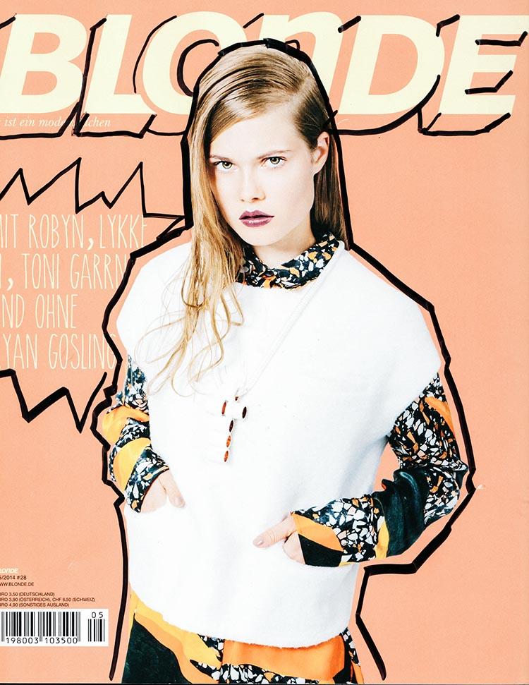 Collagen, verzierte Bilder, Zeitschrift Blonde, Kunstcollage, Cover, Zeitschriftencover