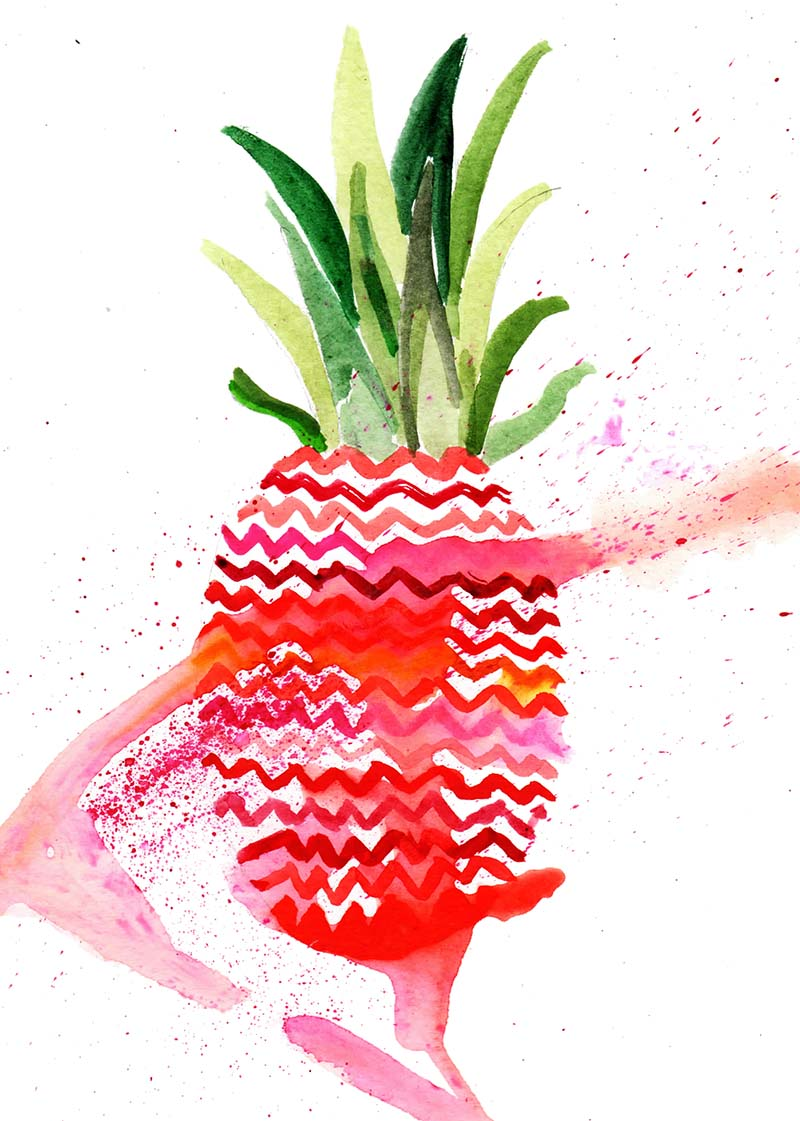 Illustrationen, Illustration, Sommerobst, Summerfruits, Ananas, Graphicdesign