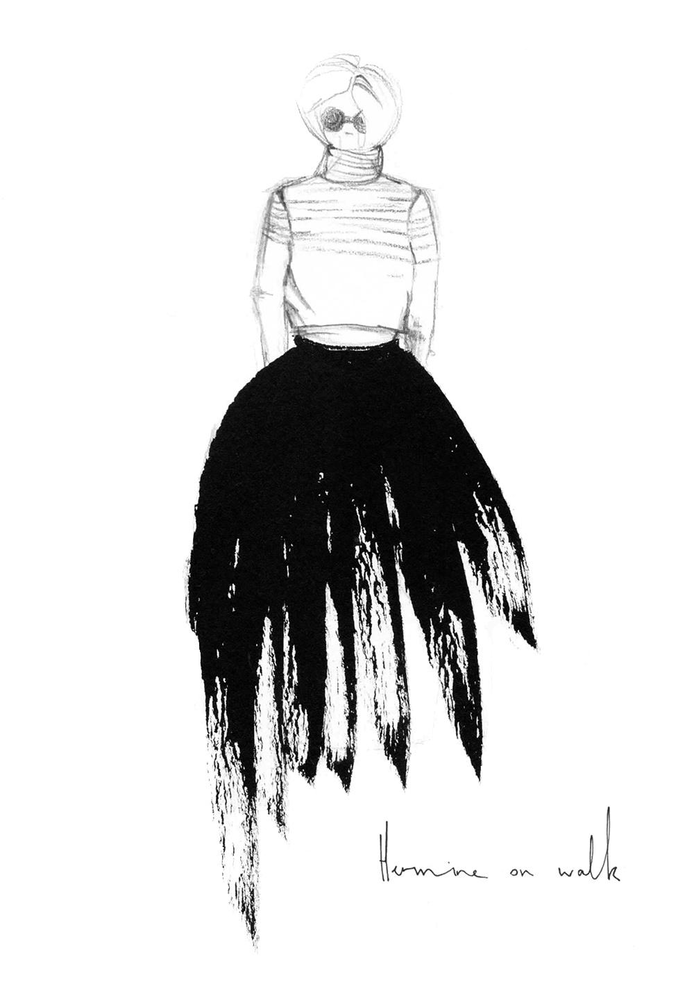 Ich zeige euch, welche 3 Schritte ich verwende, um meine Mode Illustrationen mit Tusche herzustellen - und wie euch das auch gelingt! Schaut vorbei. Fashion Illustrations | Fashion Sketch | Sketchbook | Fashion Drawing | Hermine on walk