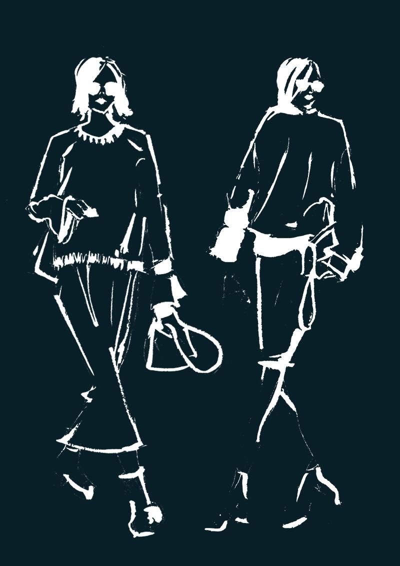 Erfahrt warum das Zeichnen von Mode Skizzen entspannend ist, den Kopf frei macht, zur Ruhe bringt und sogar meditativ wirkt. |Hermine on walk | Fashion Sketch | Fashion Sketchbook | Fashion Illustration | Mode Skizze