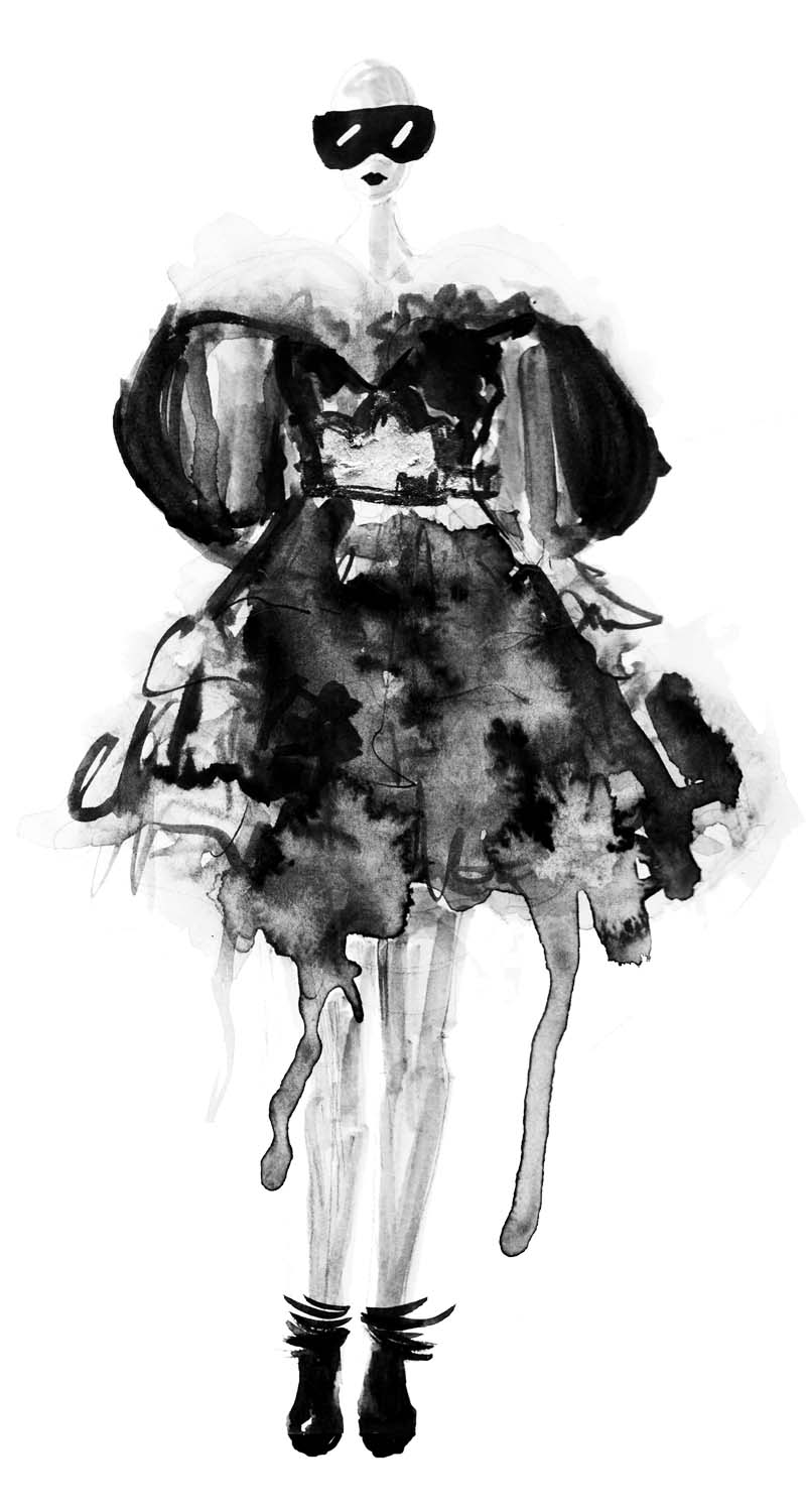 So zeichnest du eine Mode Skizze ! Erfahre wie du durch einfache Mittel tolle Ergebnisse zu Stande bringst - anhand von Alexander McQueen Entwürfen erklärt. Hermine on walk | Mode Illustration | Fashion lIlustrations | Fashion Sketch | Sketchbook | Mode Skizzen