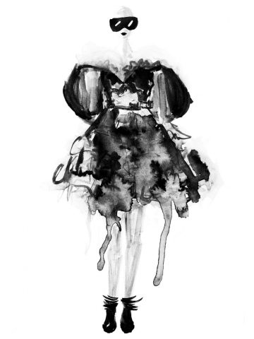 So zeichnest du eine Mode Skizze ! Erfahre wie du durch einfache Mittel tolle Ergebnisse zu Stande bringst - anhand von Alexander McQueen Entwürfen erklärt. Hermine on walk | Mode Illustration | Fashion lIlustrations | Fashion Sketch | Sketchbook | Mode Skizzen